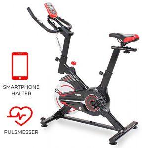 Miweba Sports Indoor Cycling MS100 Fitnessbike – 10 Kg Schwungmasse – Stufenfreie Widerstandsverstellung – Pulsmessung (Schwarz)
