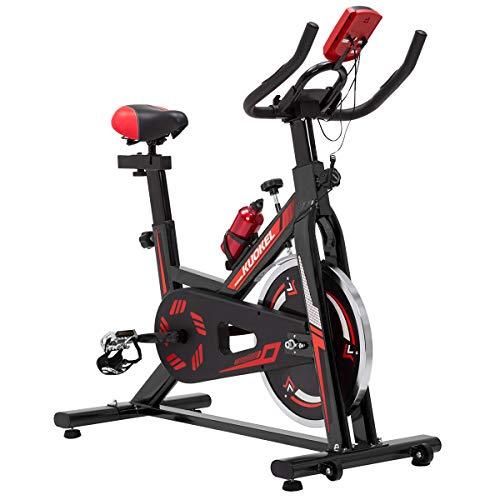 KUOKEL K608 - Indoor Cycling Bike Fitnessbike Fahrradtrainer mit Digitaler Monitor (Hometrainer 11kg Schwungrad Gepolsterter Armauflage, Komfortsattel, Pulsmessung bis 120kg)