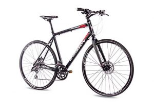 CHRISSON 28″ Zoll CROSSRAD FITNESSBIKE Fahrrad ROADGUN 1.0 mit 16Gang Shimano ACERA Claris schwarz, Rahmengröße:60cm
