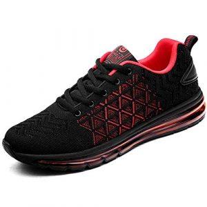 Sportschuhe Herren Damen Air Laufschuhe Luftkissen Dämpfung rutschfest Turnschuhe Outdoor Leichte Atmungsaktiv Sneaker für Maenner Frauen Rot 38 EU
