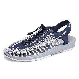 Herren Sommersandalen, handgefertigte, strapazierfähige Schuhe, Slip-on-Stoffgurte, Gummiband-Sportsandalen für Herren, Outdoor-Wandersandalen (Farbe: Blau, Größe: 6,5 UK)