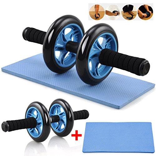 Yaheetech Bauchtrainer AB Roller Wheel Bauchmuskeltrainer inkl. Knieauflage Blau