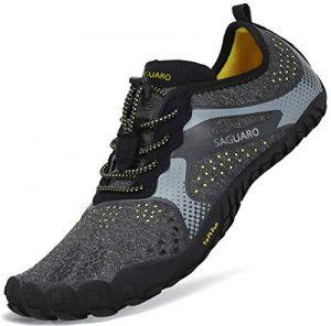 Sommer Barfußschuhe Herren Trail Laufschuhe Damen Indoor Outdoor Sport Fitnessschuhe Leicht Zehen Wander Trekking Schuhe für Frauen Männer Schwarz Gr.44