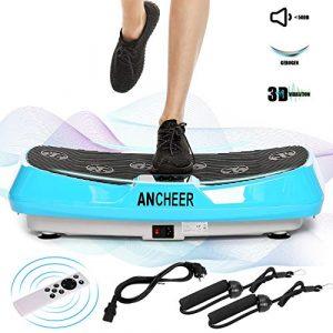 Ancheer 3D Vibrationsplatte Oszillierend, Vibrationsgeräte Fitness mit Dual-Motoren, einmaligen Curved Design, Color Touch Display, inkl. Trainingsbänder, Fernbedienung (Blau)