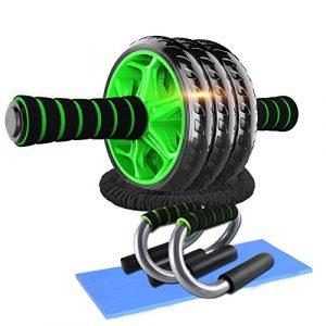 DOBEN Bauchtrainer Ab Roller mit Kniepolster – 2 Liegestützgriffe/Push up Stand, 2 Resistance Bands Fitnessbänder