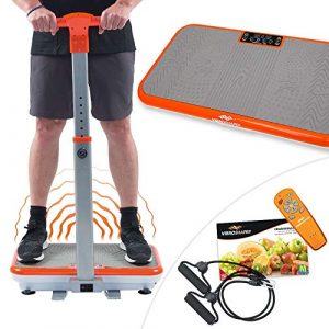Vibro Shaper mit Griff Vibrationsplatte Ganzkörper Trainingsgerät Rutschfest große Fläche inkl Trainingsbänder Ernährungsplan das Original von Mediashop