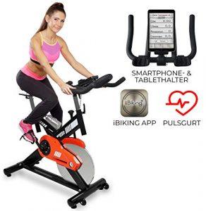 Miweba Sports Profi Indoor Cycling Bike MS400 Ergometer Heimtrainer – App-Steuerung – 22 Kg Schwungmasse – Pulsgurt