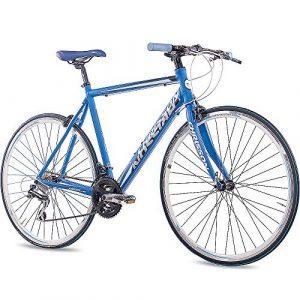 CHRISSON 28 Zoll Rennrad Fitnessrad AIRWICK blau mit 24 Gang Shimano Acera Schaltung, Urban Fahrrad für Damen und Herren, Road Bike