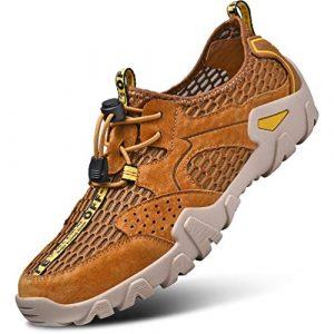FLARUT Herren Outdoorsandalen Sommer Wanderschuhe Trekking Sandalen Super Atmung Laufschuhe Wanderhalbschuhe Lässige Sneaker Sportsandalen(braun,42)