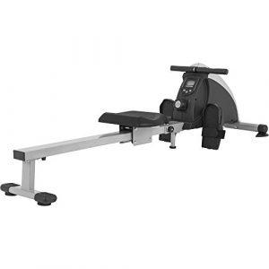 GORILLA SPORTS® Rudergerät mit Trainingscomputer Grau/Schwarz – bis 120 kg belastbar
