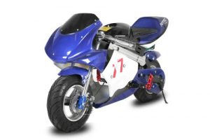 800W Eco Pocketbike Mini Cross Minibike Racing (Blau-Schwarz)