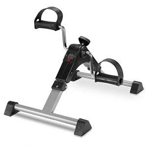 FITODO Mini Fahrrad Pedaltrainer für Arm- und Beintrainer Heimtrainer mit LCD-Monitor(Grau)