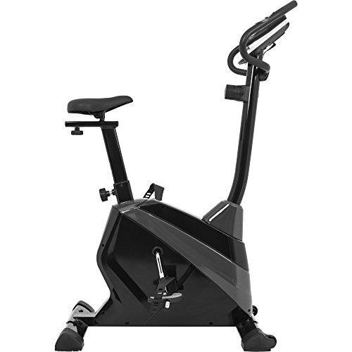 GORILLA SPORTS® Fahrrad-Ergometer mit Trainingscomputer und Pulsmesser - Heimtrainer Bike bis 120 kg belastbar Schwarz/Grau