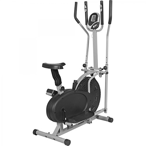 GORILLA SPORTS® Crosstrainer mit Trainingscomputer Grau - Ellipsentrainer bis 110 kg belastbar