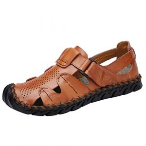 Madmoon Herren Sommer Casual Leder Sandalen atmungsaktiv Gezeiten Outdoor Strand Schuhe Rutschfeste Verschleißfeste Strand Sandale Wasser Schuhe für Wasser-Trekking Anti Collision