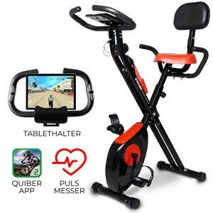 Miweba Sports Indoor Xycling X-Bike Fitnessbike – 3 Kg Schwungmasse – Pulsmessung – 8 Widerstandsstufen – App Funktion (Schwarz Rot)