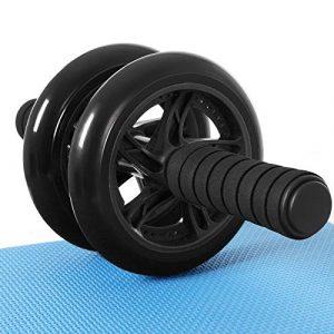 SONGMICS Bauchroller, AB Roller Bauchtrainer, AB Wheel für Fitness, mit Rutschfester, gut gepolsterter Kniematte, Bauchmuskeltraining und Muskelaufbau, für Frauen und Männer, schwarz SPU75BK