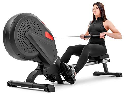 Hop-Sport Luft-Rudergerät Rush Air-Rower mit Computer, Luft- und Magnetbremssystem, Air Magnetic Rower klappbar für Zuhause, 8 Luftwiderstandsstufen