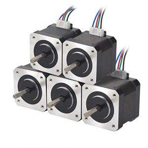 STEPPERONLINE 5PCS Nema 17 Schrittmotor 45Ncm(63.74oz.in) 1.5A 12V 39mm 2 Phase 4-Draht 1.8 Deg Stepper Motor mit 1M Draht für 3D Drucker