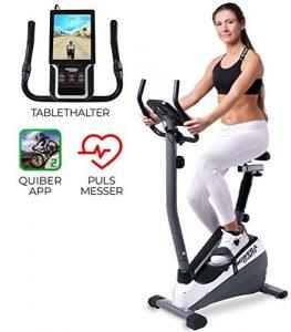 Miweba Sports Ergometer ME300 Trimmrad Cardio Heimtrainer – App Steuerung – 10 Kg Schwungmasse – Pulsgurt – Magnetbremse – LCD Display (Schwarz Weiß)