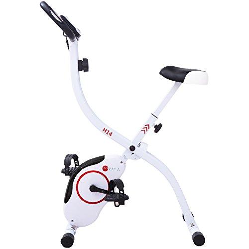 AsVIVA H14 Ergometer Heimtrainer X-Bike mit 7kg Schwungmasse, Magnetbremse, 8 Widerstandsstufen, inkl. Handpulssensoren, kompakt klappbar weiss