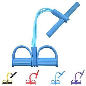 Gfung Multifunktions Widerstandstraining 4 Tube Beintrainer Zugseil Bänder Yoga Fitness Fußpedal Zugseile Sit-up Bodybuilding Expander Widerstand Übungsbänder für Zuhause Fitnessstudio (blau)