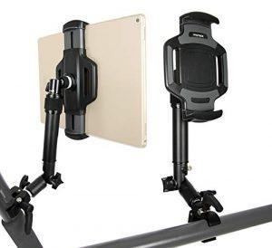 PHOTECS® Tablet-Halterung Pro V4, höhenverstellbar mit Winkelelement, für iPad Pro und andere Tablet-PC´s (von 6″ bis 14 Zoll) an Rudergerät, Heimtrainer, Ergometer-Lenker, Kommissionierwagen etc.