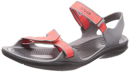 crocs Damen Swiftwater Webbing W Peeptoe Sandalen, (Orange 204804-6pk), 42/43 EU