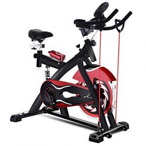 LOO LA Indoor-Übung Fahrrad, Verstellbarer Lenkersitz, Herzfrequenzsensoren auf dem Brett Computer liest Geschwindigkeit, Distanz, Zeit, Kalorien Pulse,Black