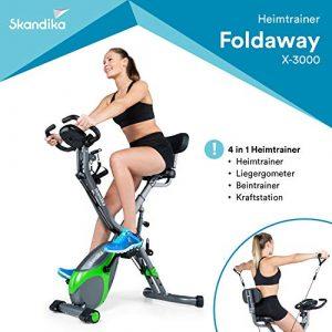 skandika Foldaway X-1000 lite/X-2000 Fitnessbike Heimtrainer X-Bike F-Bike Klappbar mit Handpuls-Sensoren – Ergometer – Hometrainer – Faltbares Fitness-Fahrrad (X-3000 Grün)