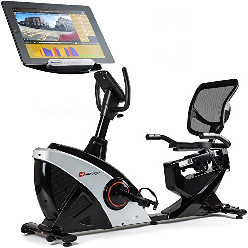 Hop-Sport Liegeheimtrainer HS-070L Sitzheimtrainer inkl. Unterlegmatte Bluetooth 4.0 Smartphone Seteuerung 16 Widerstandsstufen 12 Programme Schwungmasse 18,5 kg belastbar Silber