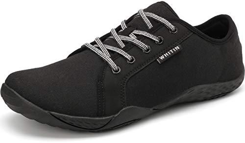WHITIN Herren Canvas Sneaker Barfussschuhe Traillaufschuh Barfuss Schuhe Barfußschuhe Barfuß Barfußschuh Trekkingschuhe Laufschuhe für Männer Tennisschuhe Straßenlaufschuhe Schwarz gr 44 EU
