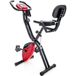 Merax X-Bike, Heimtrainer Klappbar, Magnetische Faltbares Fitnessfahrrad mit 10 Widerstandsstufen, Fitness Bike für Zuhause Büro Indoorcycling Bikes mit Expanderbänder, bis 150 kg (Rot)