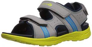 Geox VANIETT Boy J925XB Jungen Trekking Sandalen,Kinder Outdoor-Sandale,Sport-Sandale,Aussensteg,3-Fach Klett,Grey/Lime,31