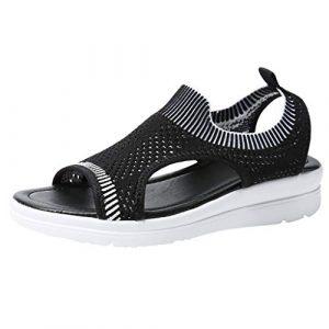 Lenfesh Outdoor Sandalen Damen Atmungsaktiv Komfort Aushöhlen Lässige Wedges Tuch Schuhe Freizeit Peep Toe Sandalen Frauen Baumwollgewebe Mesh Sandalen