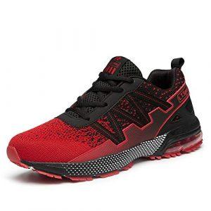 WateLves Herren Laufschuhe Fitness straßenlaufschuhe Sneaker Sportschuhe atmungsaktiv rutschfeste Mode Freizeitschuhe(qm.Schwarz Rot,41 EU)