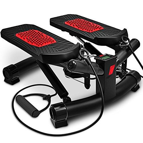 Sportstech 2in1 Twister Stepper mit Power Ropes - STX300 Modell 2019 Drehstepper & Sidestepper für Anfänger & Fortgeschrittene, Up-Down-Stepper mit Multifunktions-Display, Hometrainer Widerstand